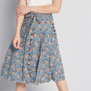 NWT! Bring to Life Modcloth Blue Floral Skirt